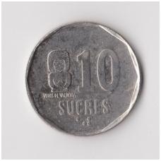 EKVADORAS 10 SUCRES 1988 KM # 92.1 VF