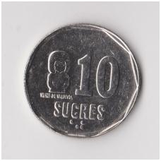 EKVADORAS 10 SUCRES 1991 KM # 92.2 XF