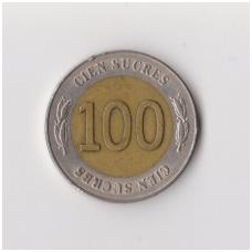 EKVADORAS 100 SUCRES 1997 KM # 101 VF