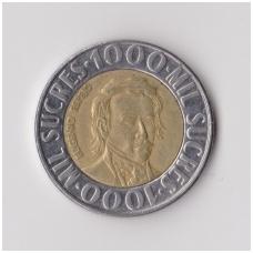 EKVADORAS 1000 SUCRES 1996 KM # 99 VF
