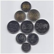 EKVADORAS 1988 - 1997 9 MONETŲ RINKINYS