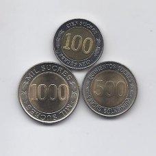 EKVADORAS 1997 m. trijų monetų komplektas