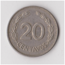 EKVADORAS 20 CENTAVOS 1971 KM # 77.1c VF
