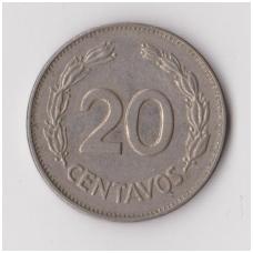 EKVADORAS 20 CENTAVOS 1972 KM # 77.1c VF