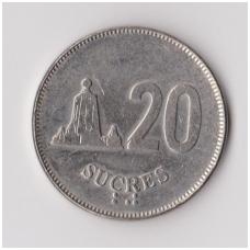 EKVADORAS 20 SUCRES 1988 KM # 94.1 VF