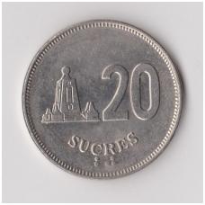EKVADORAS 20 SUCRES 1991 KM # 94.2 VF/XF