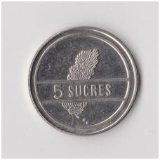 EKVADORAS 5 SUCRES 1988 KM # 91 VF