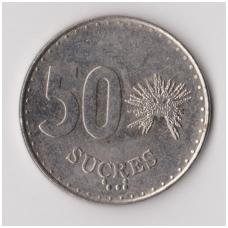 EKVADORAS 50 SUCRES 1988 KM # 93.1 VF
