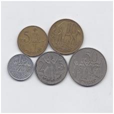 ETIOPIJA 5 monetų VF rinkinukas ( nemagnetinis )