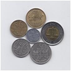 ETIOPIJA 6 monetų XF rinkinukas ( nemagnetinis )