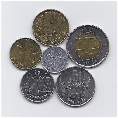 ETIOPIJA  6 monetų rinkinukas ( magnetinis)