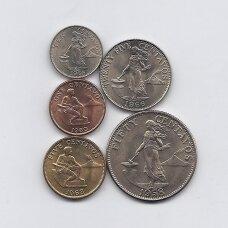 FILIPINAI 1958 - 1966 m. 5 MONETŲ RINKINYS