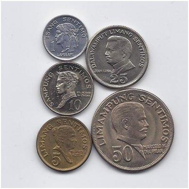FILIPINAI 1967 - 1974 m. 5 MONETŲ RINKINYS