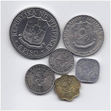 FILIPINAI 1975 - 1982 m. 6 monetų rinkinukas 2