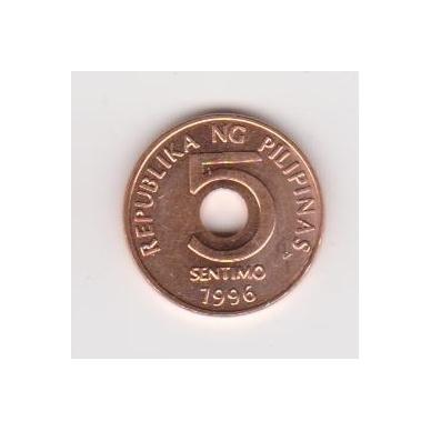 FILIPINAI 5 SENTIMO 1996 KM # 268 AU