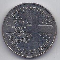FOLKLANDO SALOS 50 PENCE 1982 KM # 18 UNC Salų išvadavimas