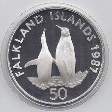 FOLKLANDO SALOS 50 PENCE 1987 KM # 25a PROOF Karališkieji pingvinai