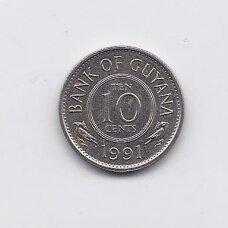GAJANA 10 CENTS 1991 KM # 33 XF/AU