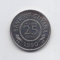 GAJANA 25 CENTS 1990 KM # 34 XF/AU