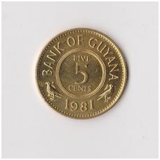 GAJANA 5 CENTS 1981 KM # 32 XF