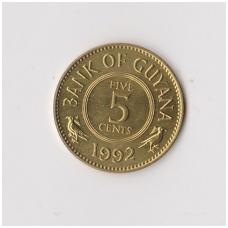 GAJANA 5 CENT 1992 KM # 32 VF