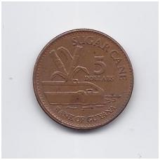 GAJANA 5 DOLLARS 2011 KM # 51 VF