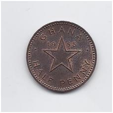 GANA 1/2 PENNY 1958 KM # 1 VF