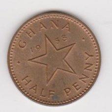 GHANA 1/2 PENNY 1958 KM # 1 XF