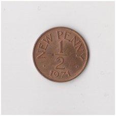 GERNSIS 1/2 NEW PENNY 1971 KM # 20 VF