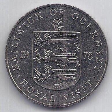 GERNSIS 25 PENCE 1978 KM # 32 UNC Karališkasis Vizitas