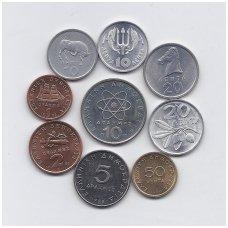 GRAIKIJA 1973 - 2000 m. 9 monetų rinkinukas