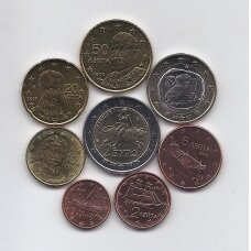GRAIKIJA 2007 - 2011 m. pilnas euro monetų rinkinys
