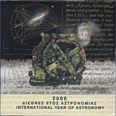 GRAIKIJA 2009 m. OFICIALUS BANKINIS EURO MONETŲ RINKINYS SU PROGINE SIDABRINE 10 EURŲ MONETA - ASTRONOMIJOS METAI