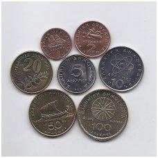GRAIKIJA 1990 - 2000 m. 7 monetų ( drachmų ) rinkinukas
