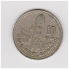 GVATEMALA 10 CENTAVOS 1987 KM # 277.5 VF