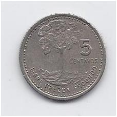 GVATEMALA 5 CENTAVOS 1977 KM # 276.1 VF