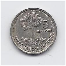 GVATEMALA 5 CENTAVOS 1991 KM # 276.4 VF
