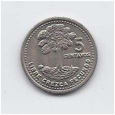 GVATEMALA 5 CENTAVOS 1991 KM # 276.4 XF