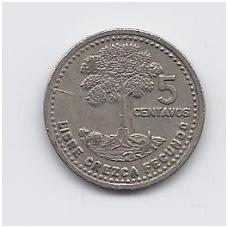 GVATEMALA 5 CENTAVOS 1992 KM # 276.4 VF
