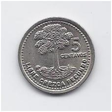 GVATEMALA 5 CENTAVOS 1992 KM # 276.4 XF