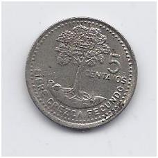 GVATEMALA 5 CENTAVOS 1996 KM # 276.4 VF