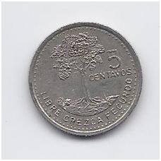 GVATEMALA 5 CENTAVOS 1997 KM # 276.6 VF
