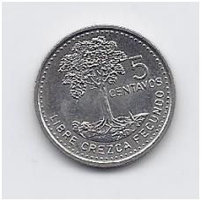 GVATEMALA 5 CENTAVOS 1997 KM # 276.6 XF