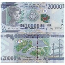 GVINĖJA 20000 FRANCS 2015 P # 50 UNC