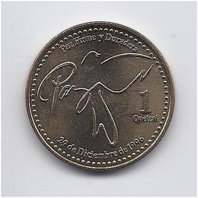 GVATEMALA 1 QUETZAL 1999 KM # 284 AU/UNC