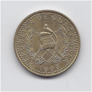 GVATEMALA 1 QUETZAL 1999 KM # 284 XF 2