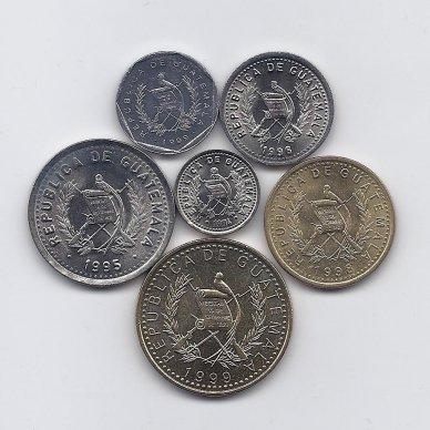 GVATEMALA 1993 - 1999 m. 6 monetų rinkinukas 2