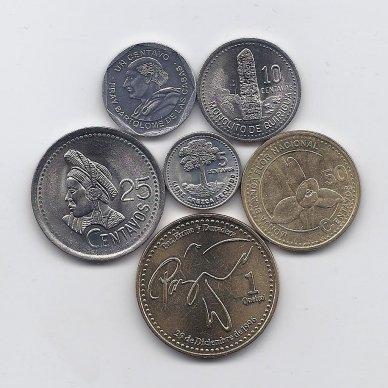 GVATEMALA 1993 - 1999 m. 6 monetų rinkinukas
