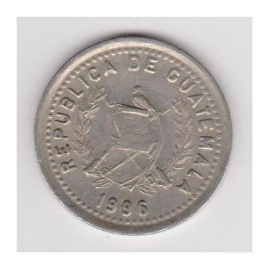 GVATEMALA 25 CENTAVOS 1996 KM # 278.6 VF 2