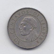 HONDŪRAS 50 CENTAVOS 1990 KM # 84 VF